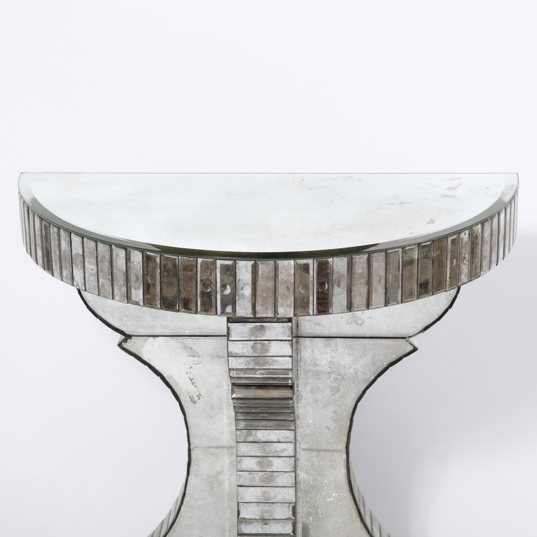 Mid-20th Century Pair of Hollywood Regency Reverse Etched Beveled Antique Mirror Console Tables For Sale
