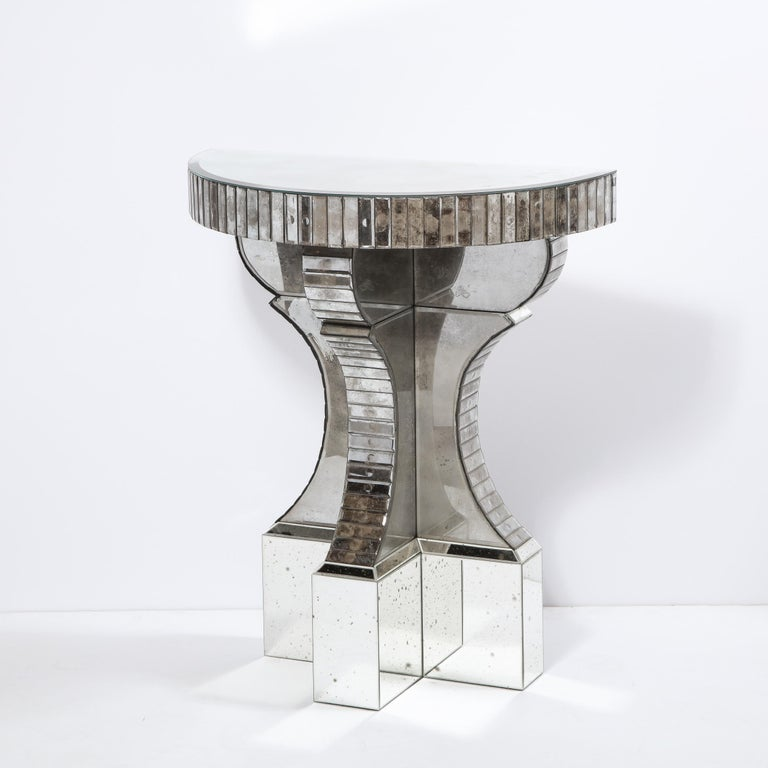 Pair of Hollywood Regency Reverse Etched Beveled Antique Mirror Console Tables For Sale 1
