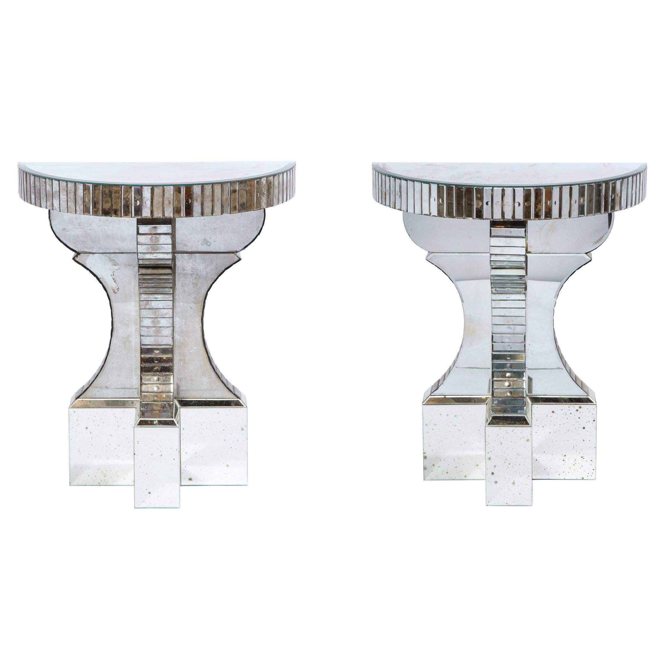 Pair of Hollywood Regency Reverse Etched Beveled Antique Mirror Console Tables