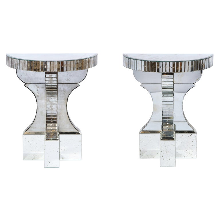 Pair of Hollywood Regency Reverse Etched Beveled Antique Mirror Console Tables For Sale