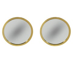 Pair of Hollywood Regency Round or Circular Porthole Wall Mirrors in Brass