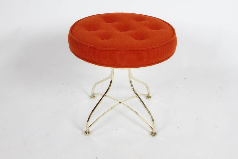 American Pair of Hollywood Regency Round Tufted Brass Base Stools For Sale