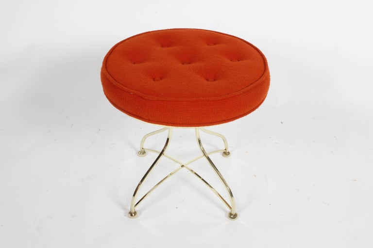Plated Pair of Hollywood Regency Round Tufted Brass Base Stools For Sale