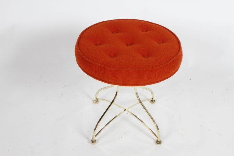 Pair of Hollywood Regency Round Tufted Brass Base Stools For Sale 2