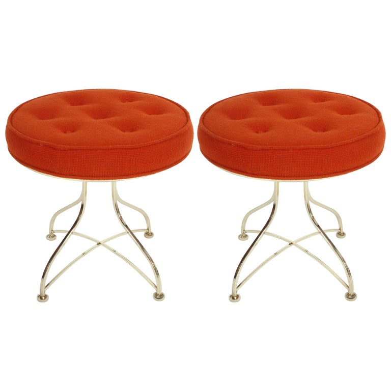 Pair of Hollywood Regency Round Tufted Brass Base Stools For Sale