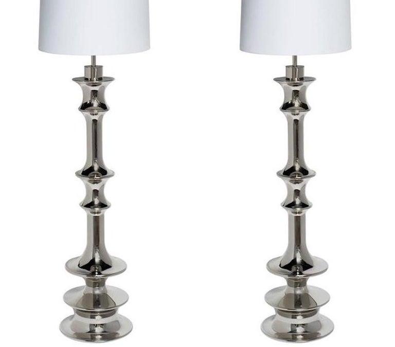 American Pair of Hollywood Regency Sculptural Floor Lamps in Nickel For Sale