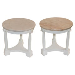 Pair of Hollywood Regency Side Tables White Lacquer Pink Marble Tops 1940s