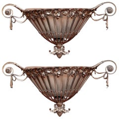 Pair of Hollywood Regency Silvered Bronze Wall Sconces