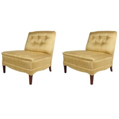 Pair of Hollywood Regency Slipper Lounge Chairs
