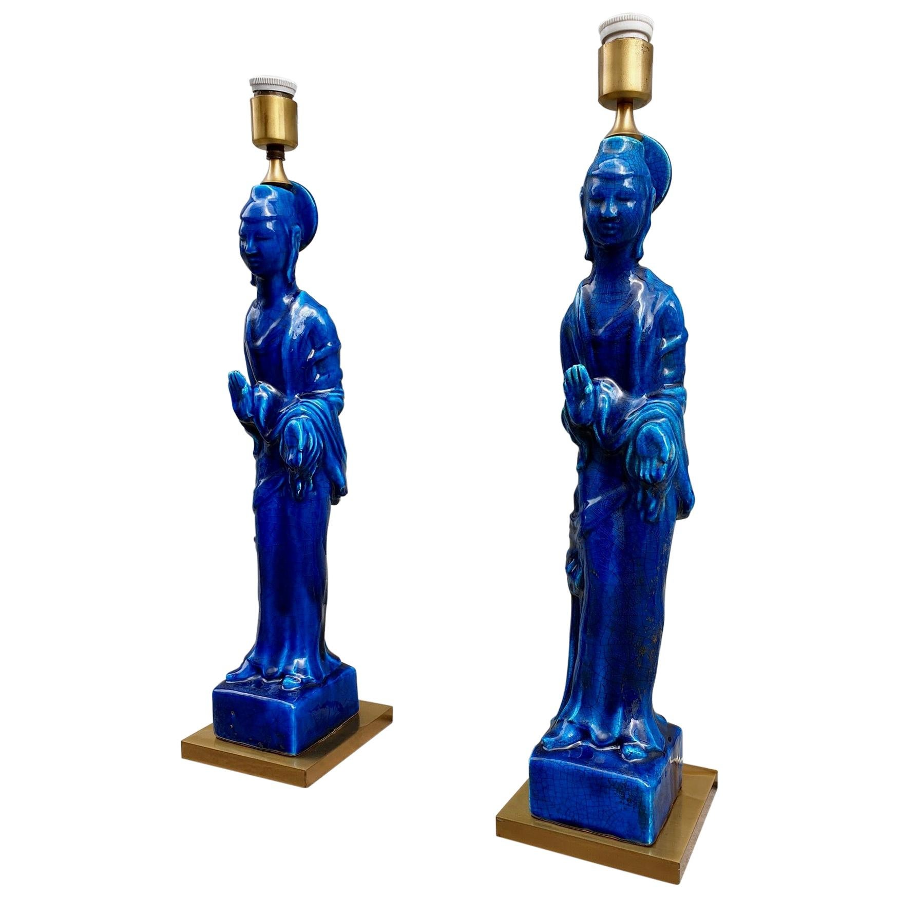 Pair of Hollywood Regency Standing Buddha Ceramic Table Lamps by Ugo Zaccagnini