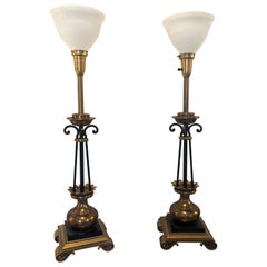 Pair of Hollywood Regency Stiffel Co. Brass and Ebonized Column Form Table Lamp