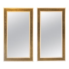 Pair of Hollywood Regency Style Brass on Wood Frame in White Large Wall Mirrors
