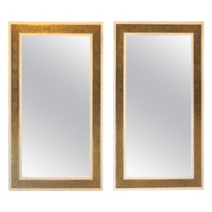 Pair of Hollywood Regency Style Brass on Wood Frame in White Wall Mirrors
