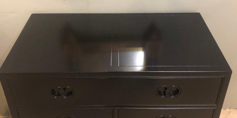 Pair of Hollywood Regency Style Ebony Michael Taylor Designed Chests for Baker For Sale 3