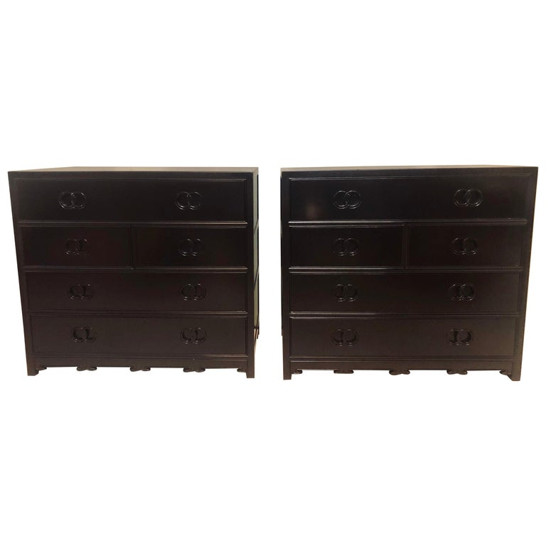 Pair of Hollywood Regency Style Ebony Michael Taylor Designed Chests for Baker For Sale