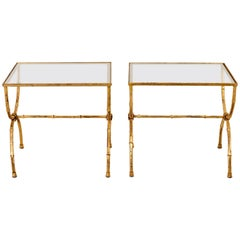 Pair of Hollywood Regency Style Faux Bamboo Tables