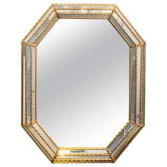 Pair of Hollywood Regency Style Gilt Faux Bamboo Octagonal Mirrors by La Barge