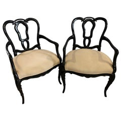 Pair of Hollywood Regency Style Lacquer Bamboo Form Armchairs in Ebony Finish
