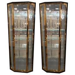 Pair of Hollywood Regency Style Mastercraft Bronze & Ebonized Showcase Cabinets