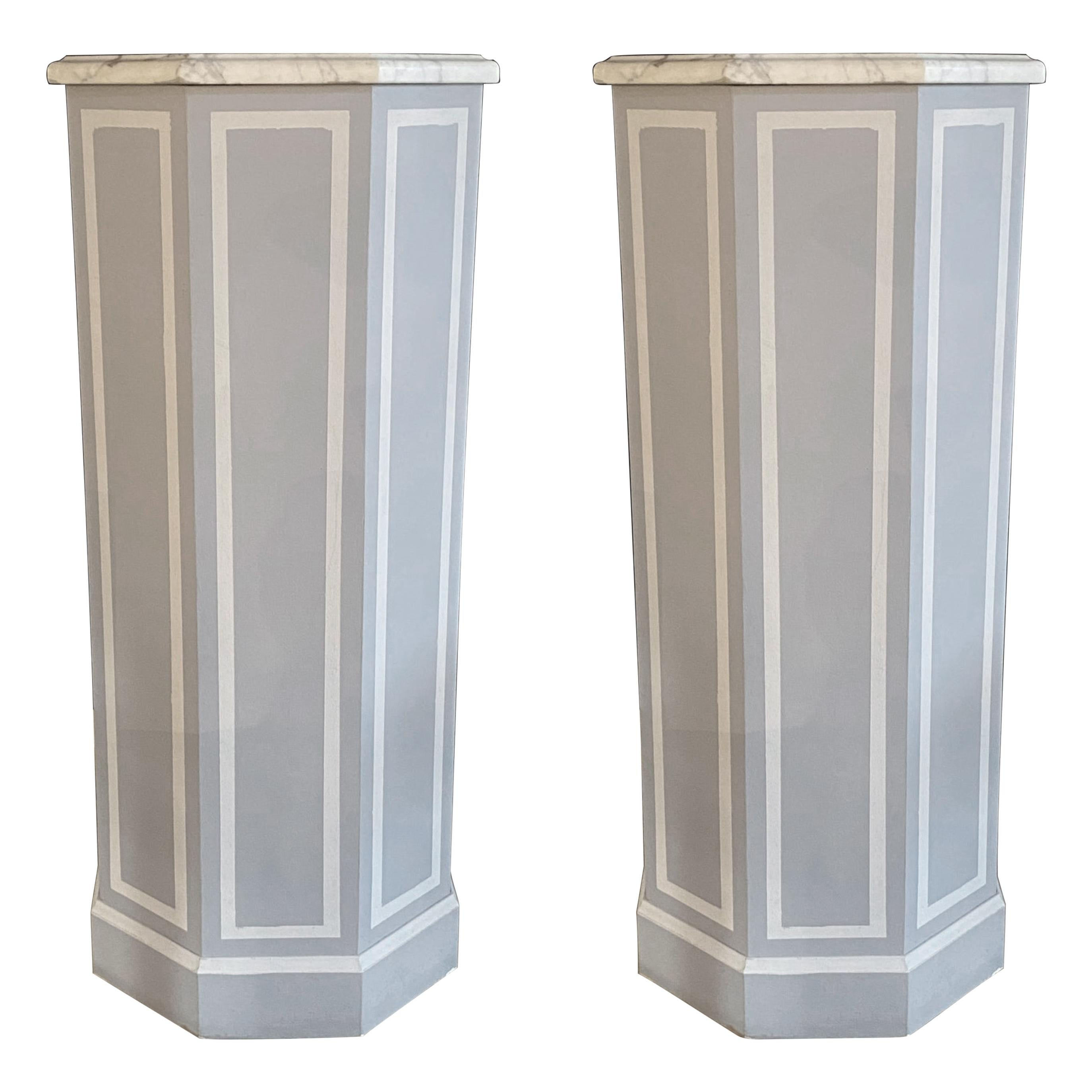 Pair of Hollywood Regency Style Pedestals Paint Decorated Wood with Marble Tops