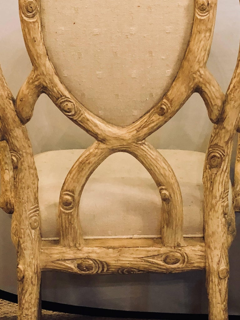 Pair of Hollywood Regency Style Tree Trunk Form Designed Arm / Desk Chairs For Sale 7