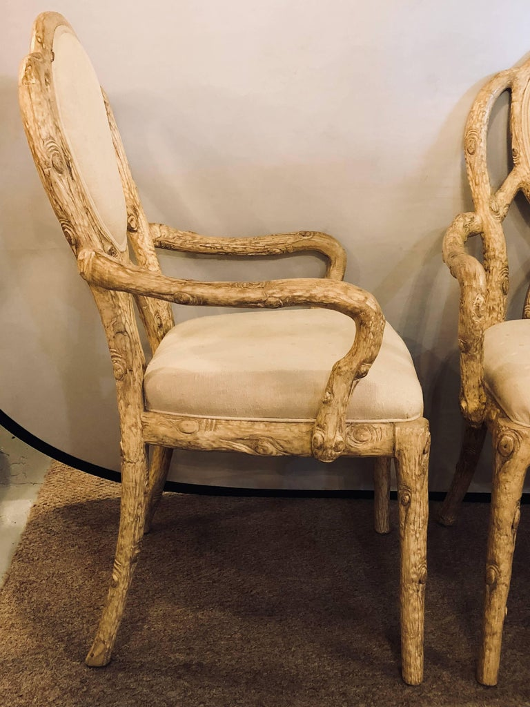 Pair of Hollywood Regency Style Tree Trunk Form Designed Arm / Desk Chairs In Good Condition For Sale In Stamford, CT