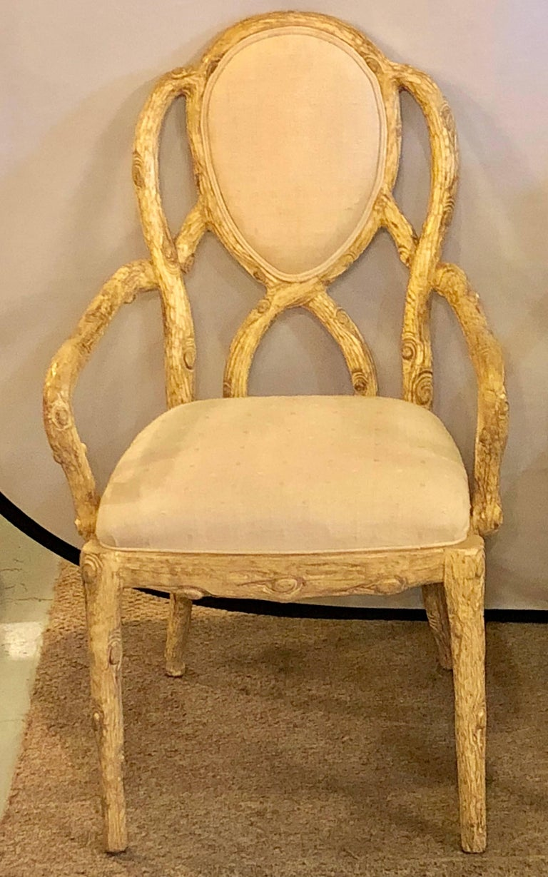 20th Century Pair of Hollywood Regency Style Tree Trunk Form Designed Arm / Desk Chairs For Sale