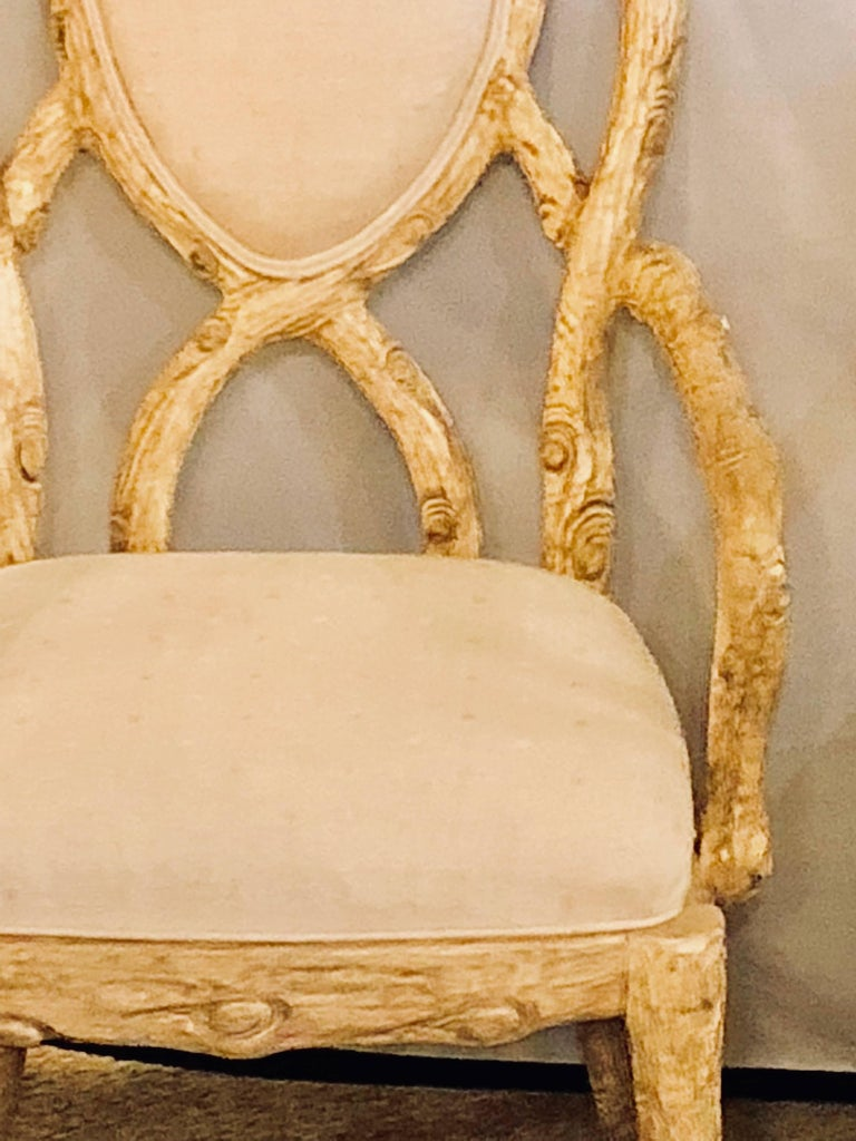 Pair of Hollywood Regency Style Tree Trunk Form Designed Arm / Desk Chairs For Sale 2