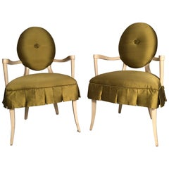 Pair of Hollywood Regency Style Upholstered Wood Armchairs