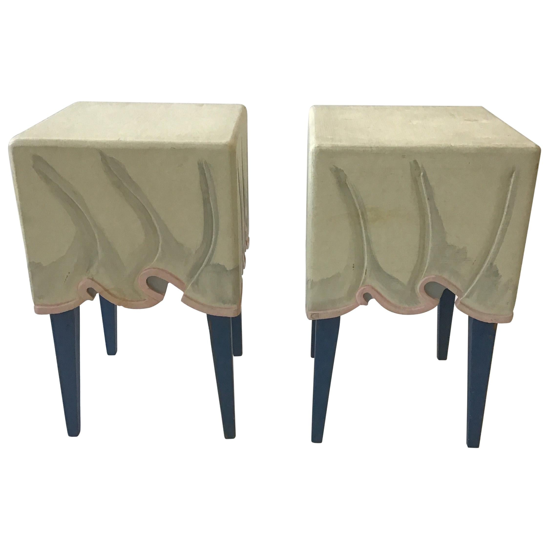 Pair of Hollywood Regency Style, Wood, Faux Draped Side Tables
