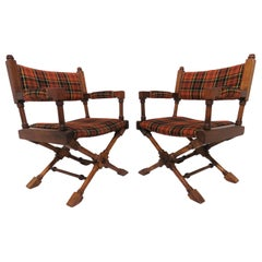 Pair of Hollywood Regency Style X-Base Campaign Chairs, circa 1960s