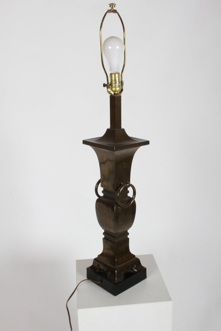 American Pair of Hollywood Regency Tall Brass Urn Form Asian Modern Table Lamps For Sale