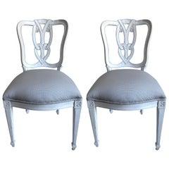 Pair of Hollywood Regency Tassel-Motif White Side Chairs