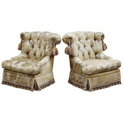 Pair of Hollywood Regency Tasseled Armchairs by Erwin Lambeth, 1960s, Signed