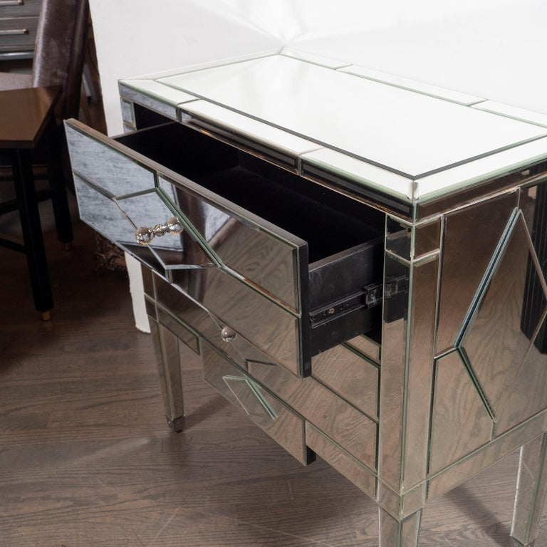 Pair of Hollywood Regency Tessellated Mosaic Mirrored Nightstands/End Tables For Sale 5