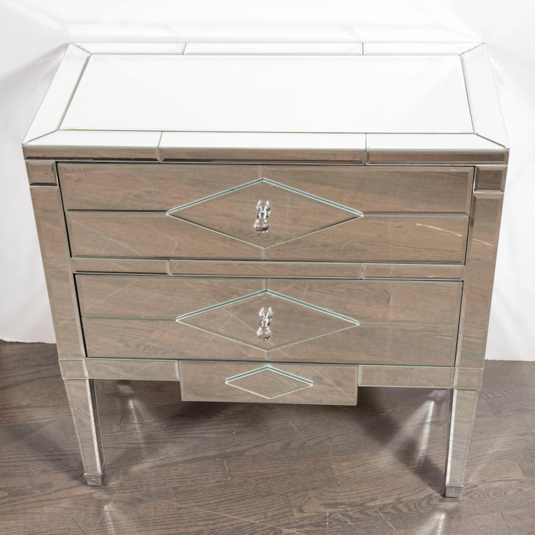 20th Century Pair of Hollywood Regency Tessellated Mosaic Mirrored Nightstands/End Tables For Sale