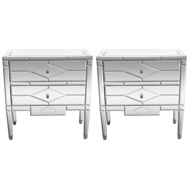 Pair of Hollywood Regency Tessellated Mosaic Mirrored Nightstands/End Tables For Sale