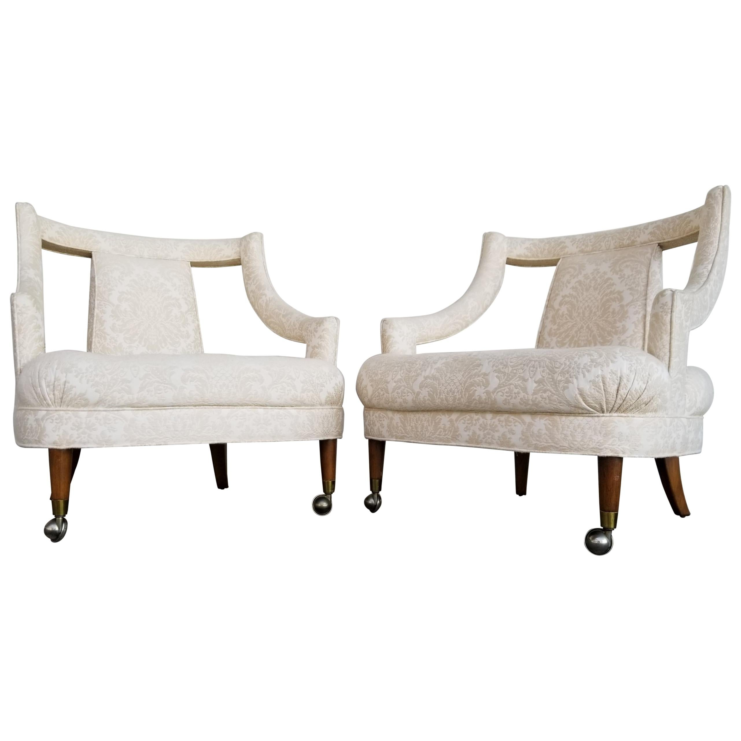 Pair of Hollywood Regency Tufted Lounge Chairs