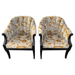 Pair of Hollywood Regency Velvet Chairs attributed to Jack Lenor Larsen