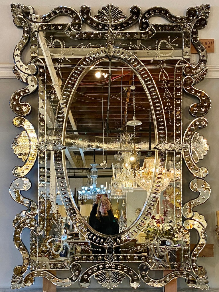 Pair of Hollywood Regency Venetian Mirrors, Monumental Etched Glass In Good Condition For Sale In Stamford, CT