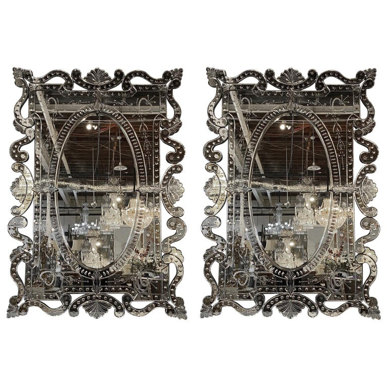 Pair of Hollywood Regency Venetian Mirrors, Monumental Etched Glass For Sale