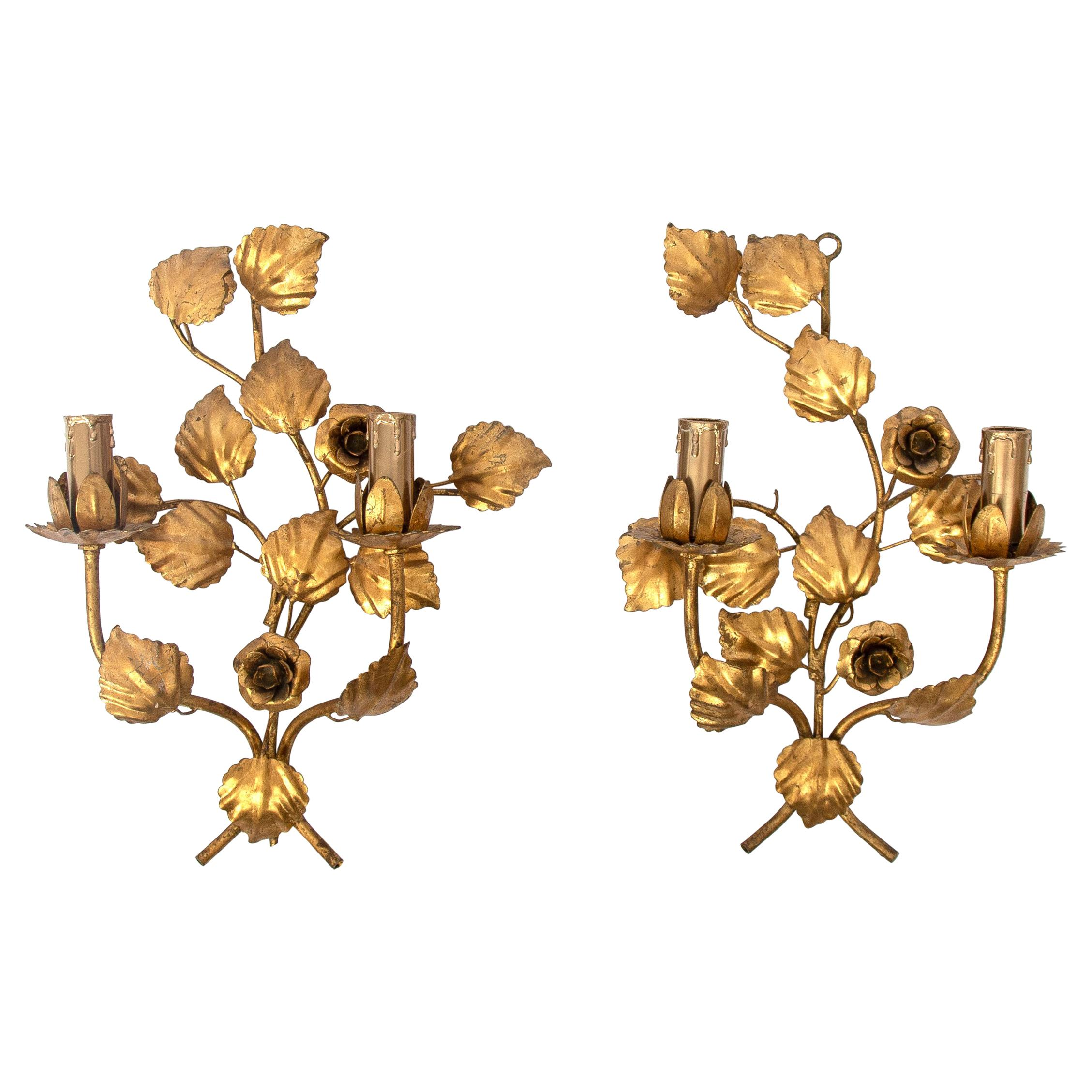 Pair of Hollywood Regency Wall Lamps Metal Gold Leaf by Hans Kögl, 1970s