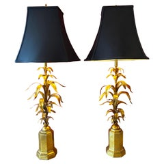 Pair of Hollywood Regency Wheat Form Gilt Table Lamps