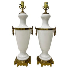 Pair of Hollywood Regency White Glass with Brass Mounts Table Lamps, circa 1950