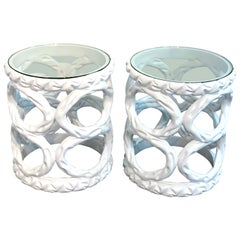 Pair of Hollywood Regency White Lacquer Ribbon Tables, Style of Tony Duquette