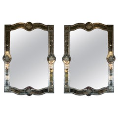 Pair of Hollywood Reverse Eglomise Chain Beveled Smoked and Antiqued Mirrors