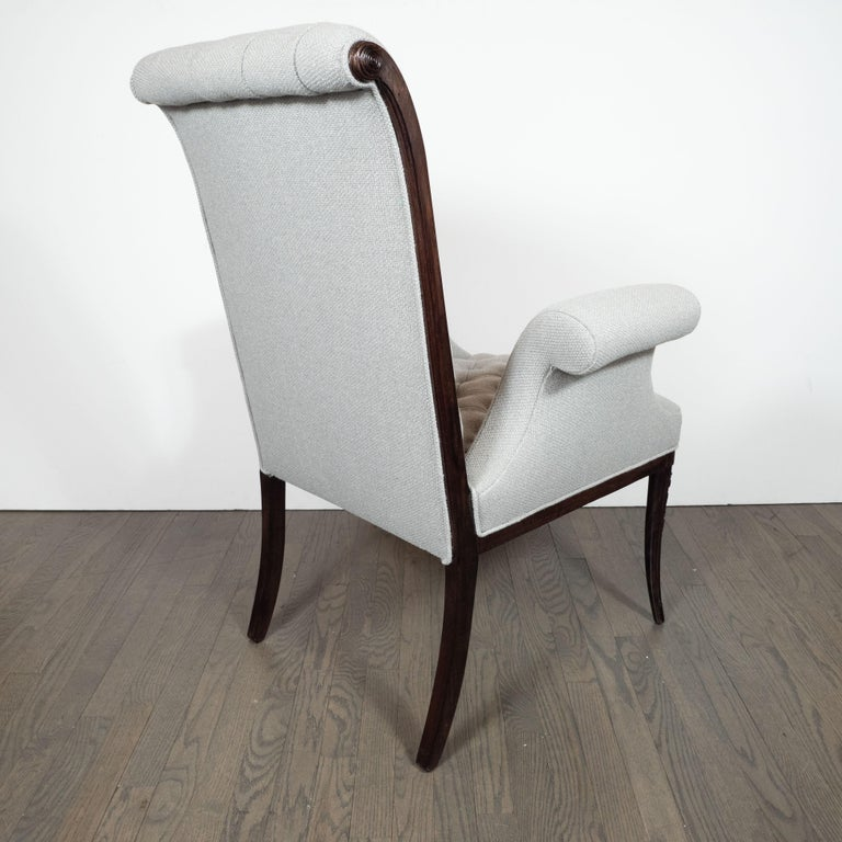 Pair of Hollywood Tufted Button Back Scroll Form Side Chairs by Grosfeld House For Sale 2