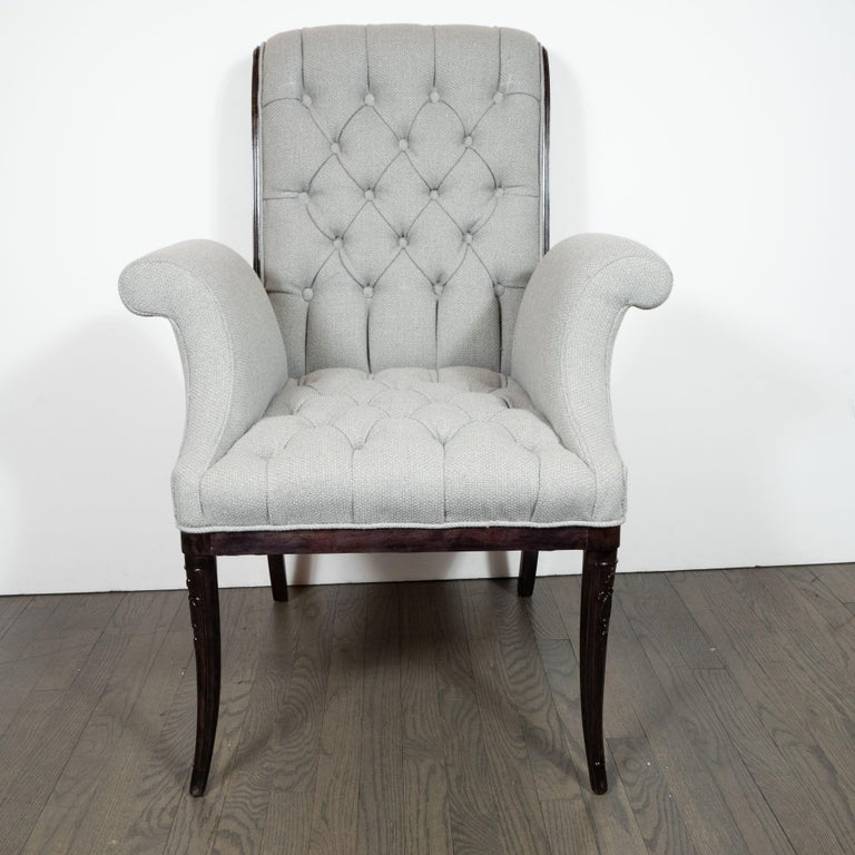 This elegant pair of Hollywood/ Art Deco side chairs were realized by the illustrious 20th Century design firm, Grosfeld House- where luminaries such as Vladimir Kagan and Lorin Jackson refined their practice- in the United States, circa 1940. They