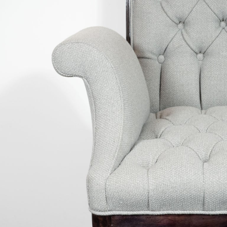 Art Deco Pair of Hollywood Tufted Button Back Scroll Form Side Chairs by Grosfeld House For Sale
