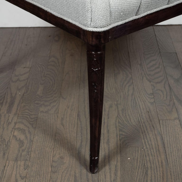 Pair of Hollywood Tufted Button Back Scroll Form Side Chairs by Grosfeld House In Excellent Condition For Sale In New York, NY